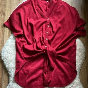 Tie front button down waffle tee